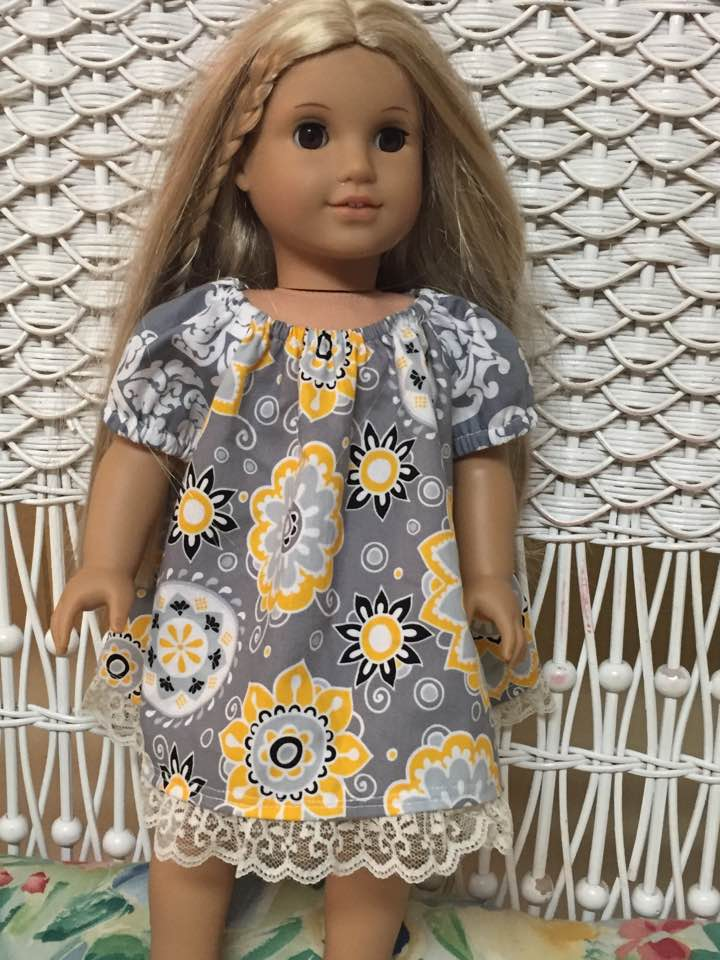 Grey and Yellow Short Sleeved Dress for Dolls