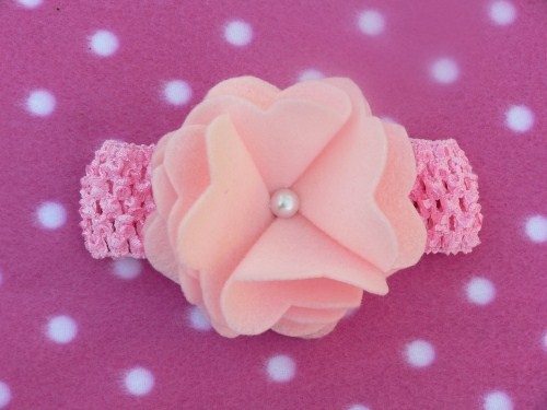 Pink Waffle String Headband With Felt Flower