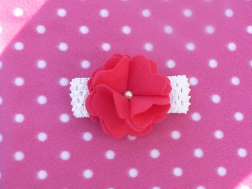 White Waffle string headband with felt flower