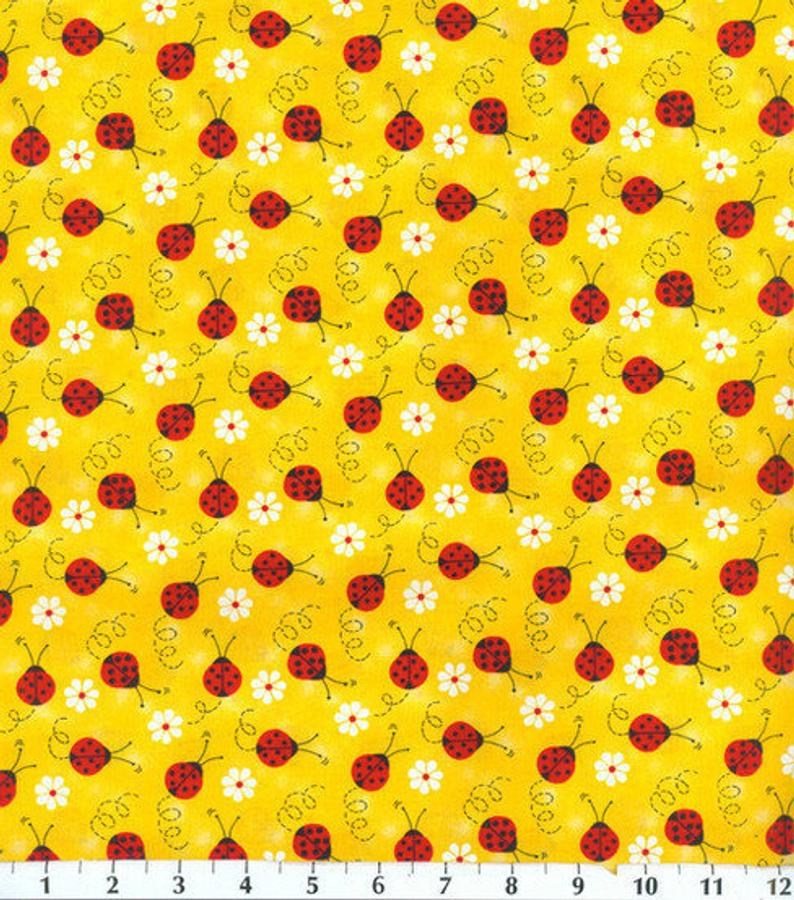 Ladybug and Daisy Fabric for Masks