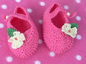 Hot Pink Crocheted Booties With Flower